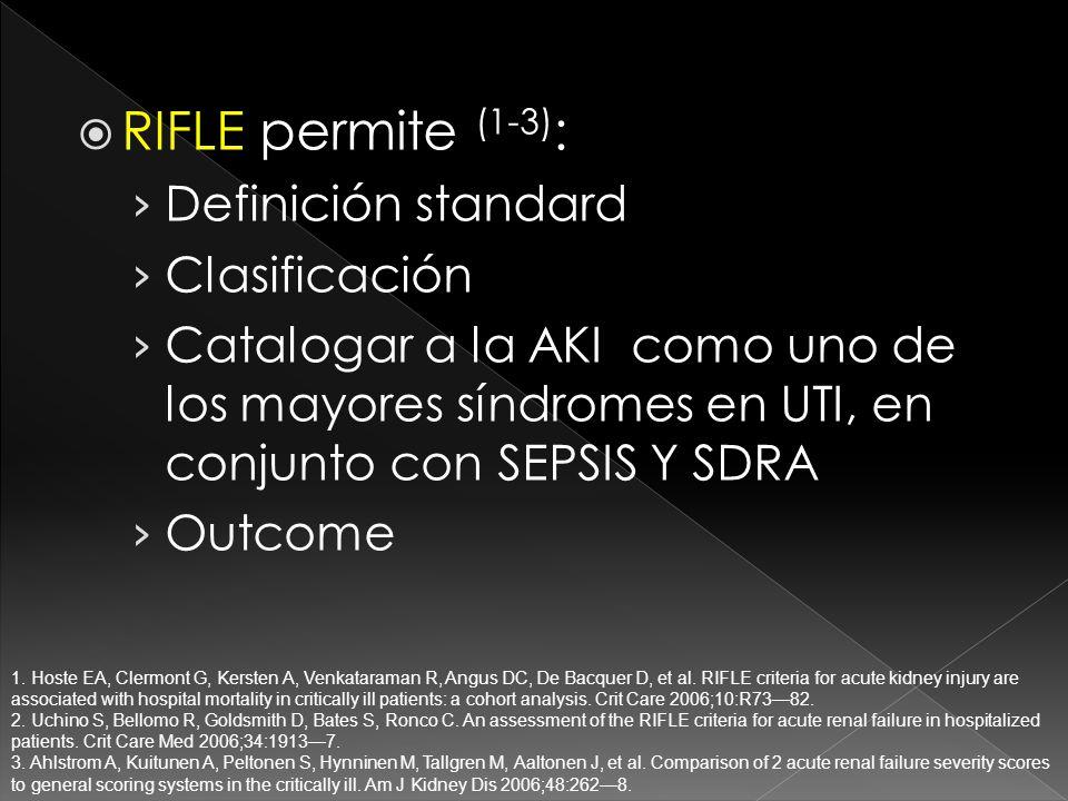 RIFLE permite (1-3) : Definición standard Clasificación Catalogar a la AKI como uno de los mayores síndromes en UTI, en conjunto con SEPSIS Y SDRA Outcome 1.