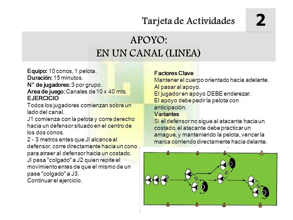Tarjeta de Actividades 2 APOYO: EN UN CANAL (LINEA) Equipo: 10 conos, 1 pelota.