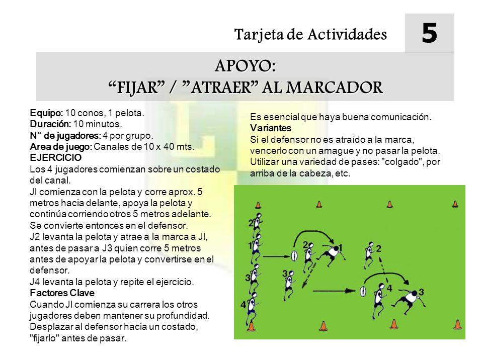 Tarjeta de Actividades 5 APOYO: FIJAR / ATRAER AL MARCADOR Equipo: 10 conos, 1 pelota.
