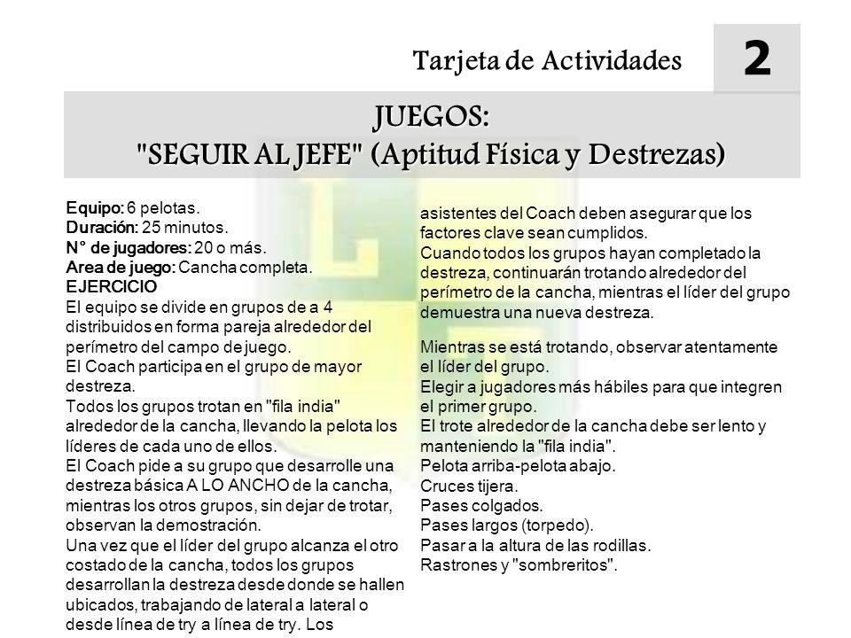 Tarjeta de Actividades 2 JUEGOS: SEGUIR AL JEFE (Aptitud Física y Destrezas)