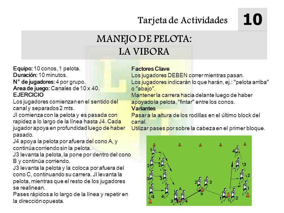 Tarjeta de Actividades 10 MANEJO DE PELOTA: LA VIBORA Equipo: 10 conos, 1 pelota. Duración: 10 minutos. N° de jugadores: 4 por grupo. Area de juego: C