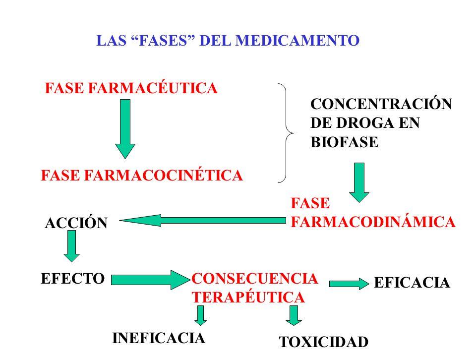 LAS FASES DEL MEDICAMENTO FASE FARMACÉUTICA FASE FARMACOCINÉTICA FASE FARMACODINÁMICA ACCIÓN EFECTOCONSECUENCIA TERAPÉUTICA EFICACIA INEFICACIA TOXICI