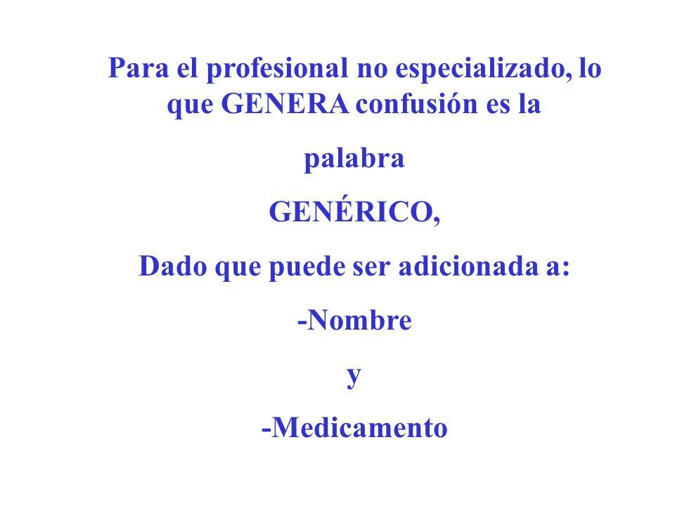 Para el profesional no especializado, lo que GENERA confusión es la palabra GENÉRICO, Dado que puede ser adicionada a: -Nombre y -Medicamento