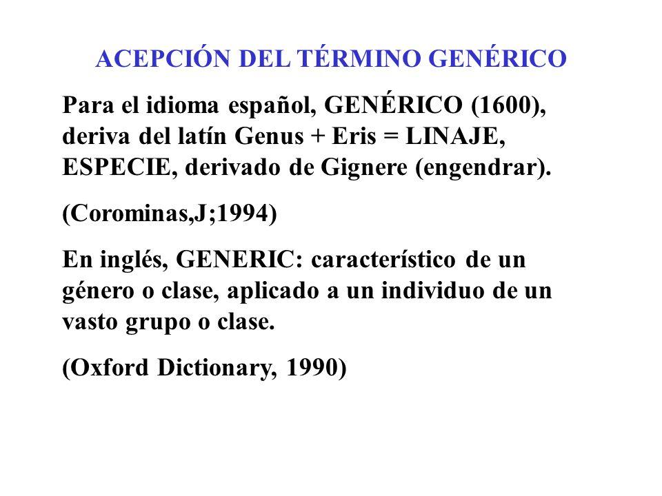 ACEPCIÓN DEL TÉRMINO GENÉRICO Para el idioma español, GENÉRICO (1600), deriva del latín Genus + Eris = LINAJE, ESPECIE, derivado de Gignere (engendrar