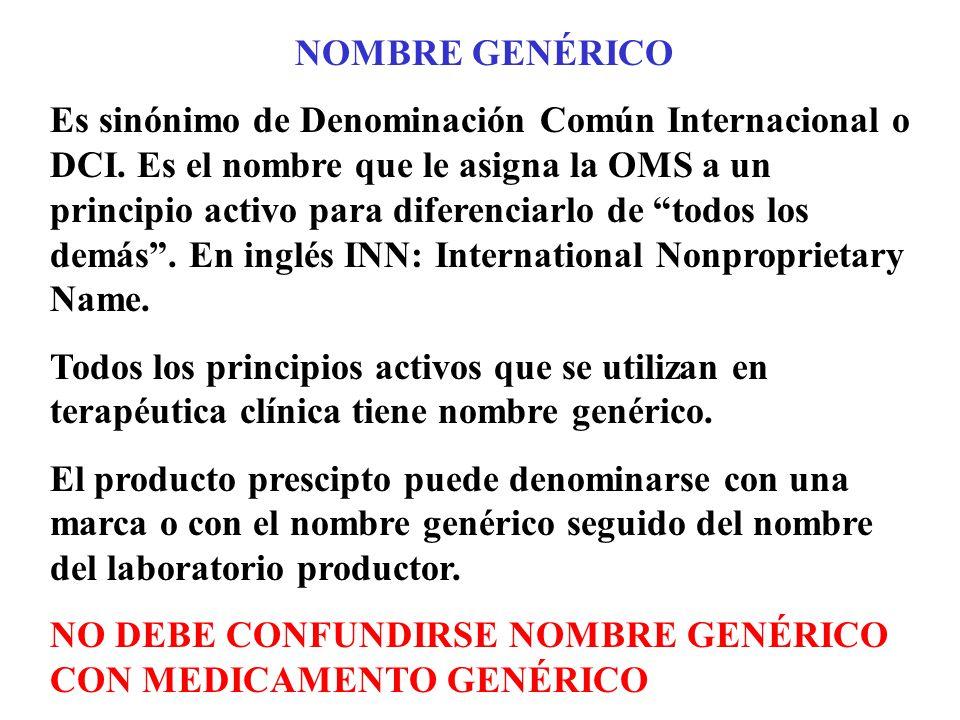 NOMBRE GENÉRICO Es sinónimo de Denominación Común Internacional o DCI. Es el nombre que le asigna la OMS a un principio activo para diferenciarlo de t