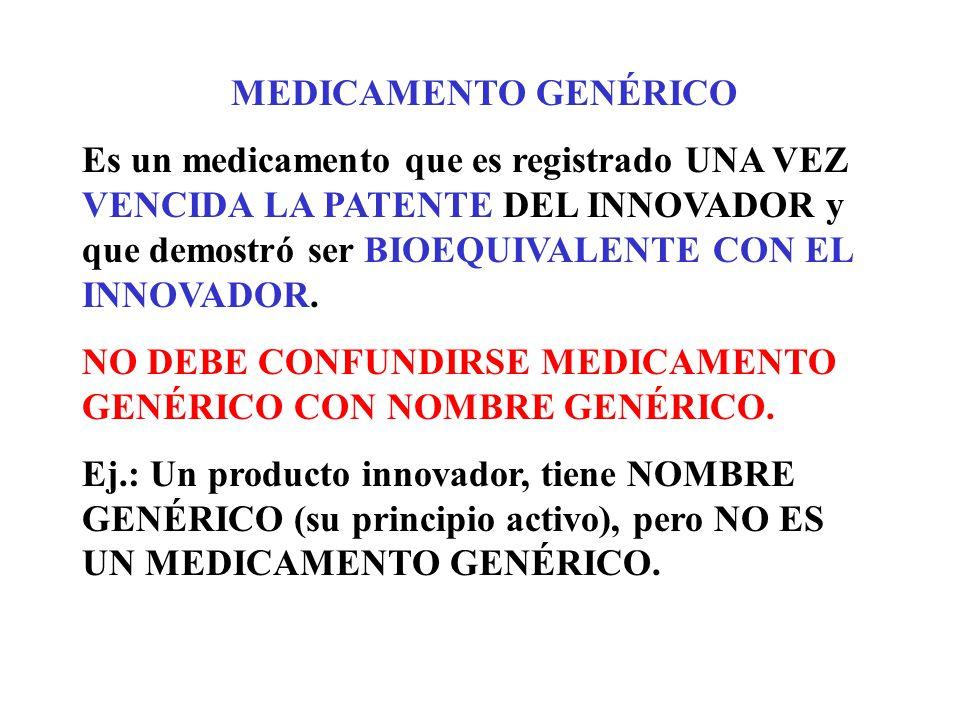 MEDICAMENTO GENÉRICO Es un medicamento que es registrado UNA VEZ VENCIDA LA PATENTE DEL INNOVADOR y que demostró ser BIOEQUIVALENTE CON EL INNOVADOR.