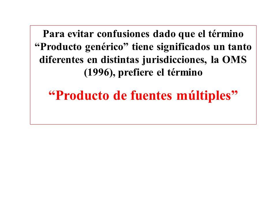 Para evitar confusiones dado que el término Producto genérico tiene significados un tanto diferentes en distintas jurisdicciones, la OMS (1996), prefi