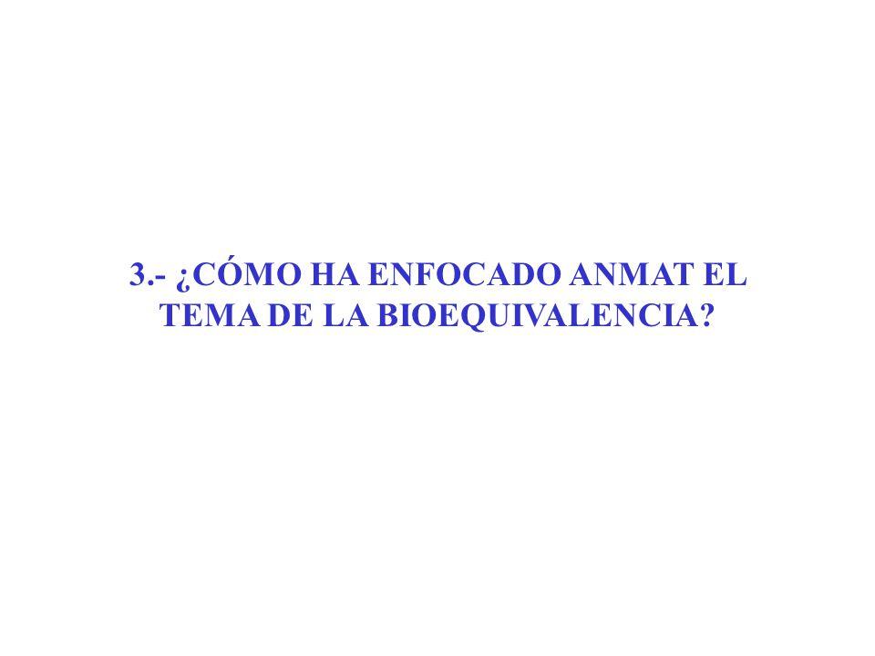3.- ¿CÓMO HA ENFOCADO ANMAT EL TEMA DE LA BIOEQUIVALENCIA?