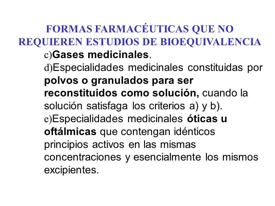 FORMAS FARMACÉUTICAS QUE NO REQUIEREN ESTUDIOS DE BIOEQUIVALENCIA c) Gases medicinales. d) Especialidades medicinales constituidas por polvos o granul