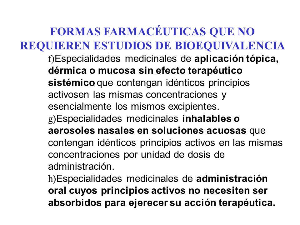 FORMAS FARMACÉUTICAS QUE NO REQUIEREN ESTUDIOS DE BIOEQUIVALENCIA f) Especialidades medicinales de aplicación tópica, dérmica o mucosa sin efecto tera