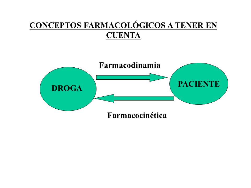 CONCEPTOS FARMACOLÓGICOS A TENER EN CUENTA DROGA PACIENTE Farmacodinamia Farmacocinética