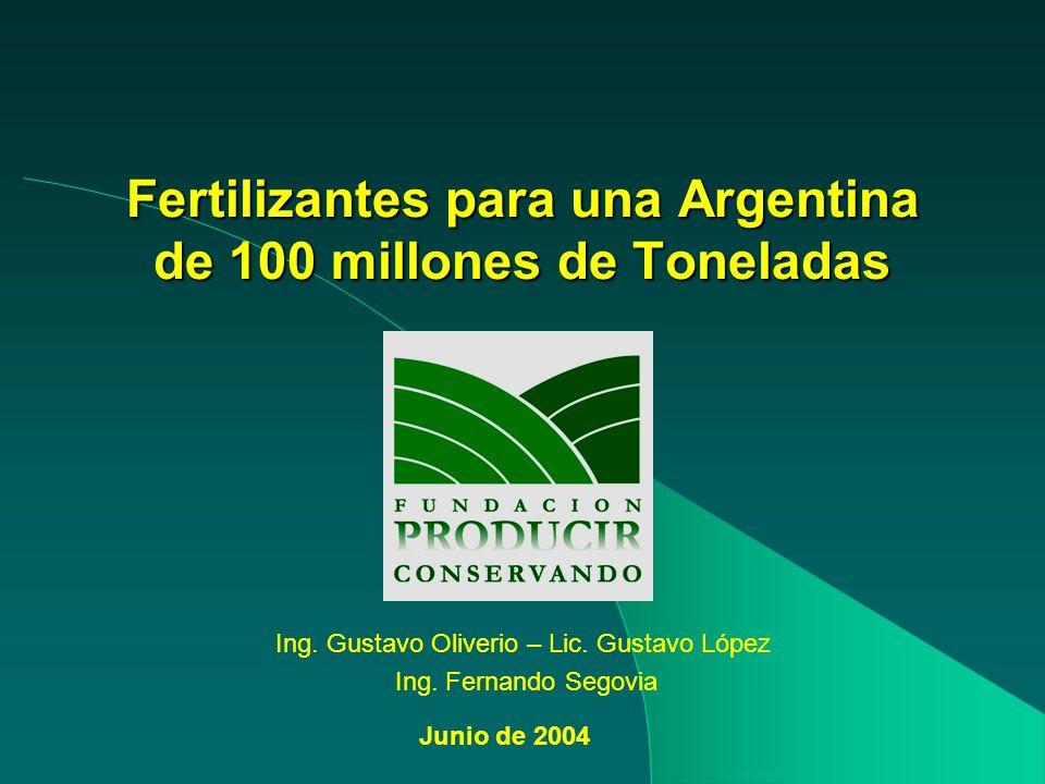 Fertilizantes para una Argentina de 100 millones de Toneladas Ing. Gustavo Oliverio – Lic. Gustavo López Ing. Fernando Segovia Junio de 2004