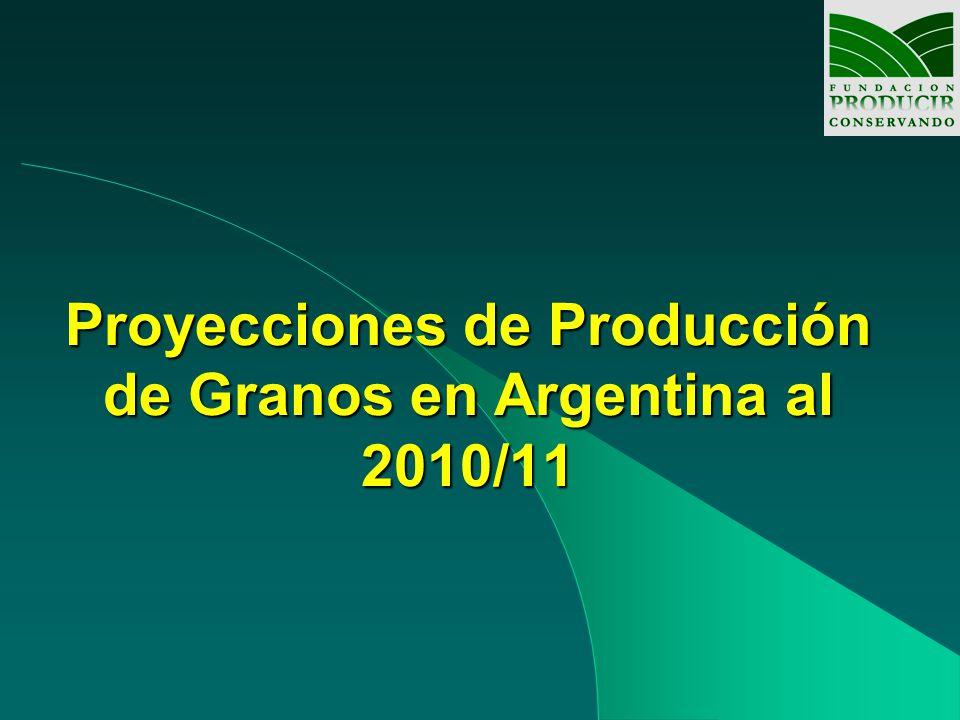 Proyecciones de Producción de Granos al 2011 Con un horizonte a 2011, coincidente con estudios del USDA, se consideraron dos hipótesis de trabajo: con y sin incremento de area, basado en estudios de series históricas, del INTA y grupos CREA.