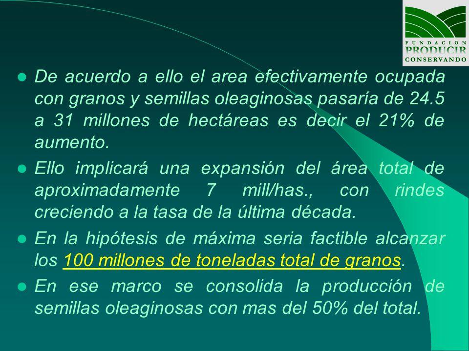 De acuerdo a ello el area efectivamente ocupada con granos y semillas oleaginosas pasaría de 24.5 a 31 millones de hectáreas es decir el 21% de aumento.