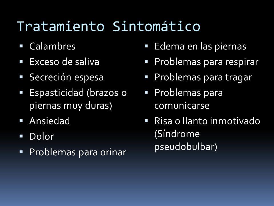 Tratamiento Sintomático Calambres Exceso de saliva Secreción espesa Espasticidad (brazos o piernas muy duras) Ansiedad Dolor Problemas para orinar Ede