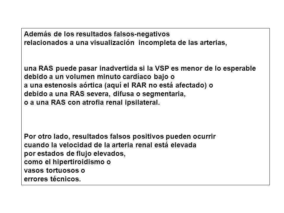 Además de los resultados falsos-negativos relacionados a una visualización incompleta de las arterias, una RAS puede pasar inadvertida si la VSP es menor de lo esperable debido a un volumen minuto cardíaco bajo o a una estenosis aórtica (aquí el RAR no está afectado) o debido a una RAS severa, difusa o segmentaria, o a una RAS con atrofia renal ipsilateral.