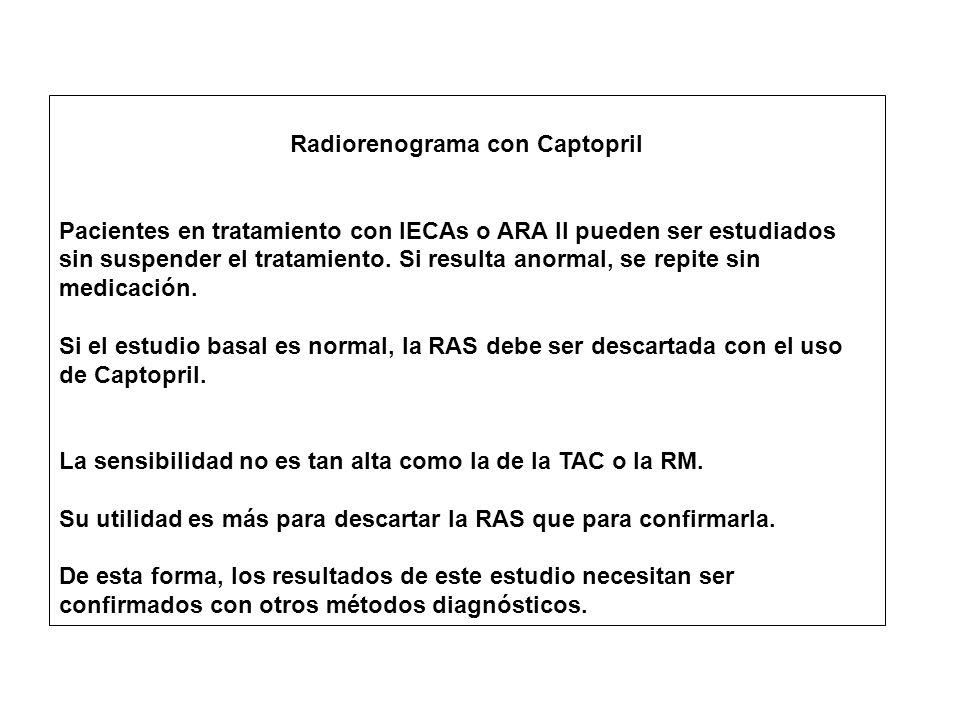 Radiorenograma con Captopril Pacientes en tratamiento con IECAs o ARA II pueden ser estudiados sin suspender el tratamiento.