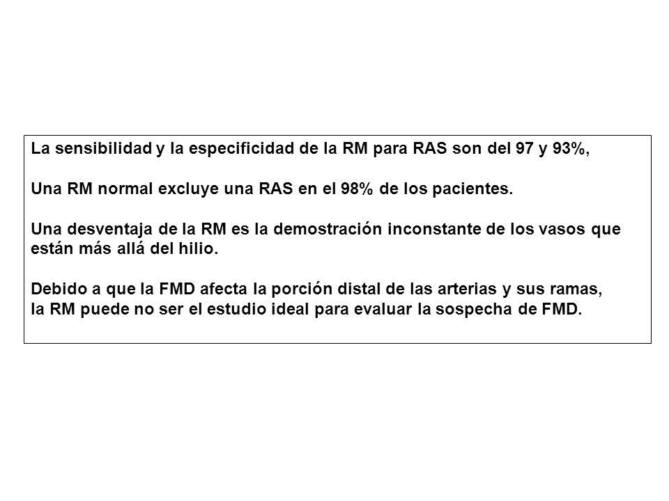La sensibilidad y la especificidad de la RM para RAS son del 97 y 93%, Una RM normal excluye una RAS en el 98% de los pacientes.