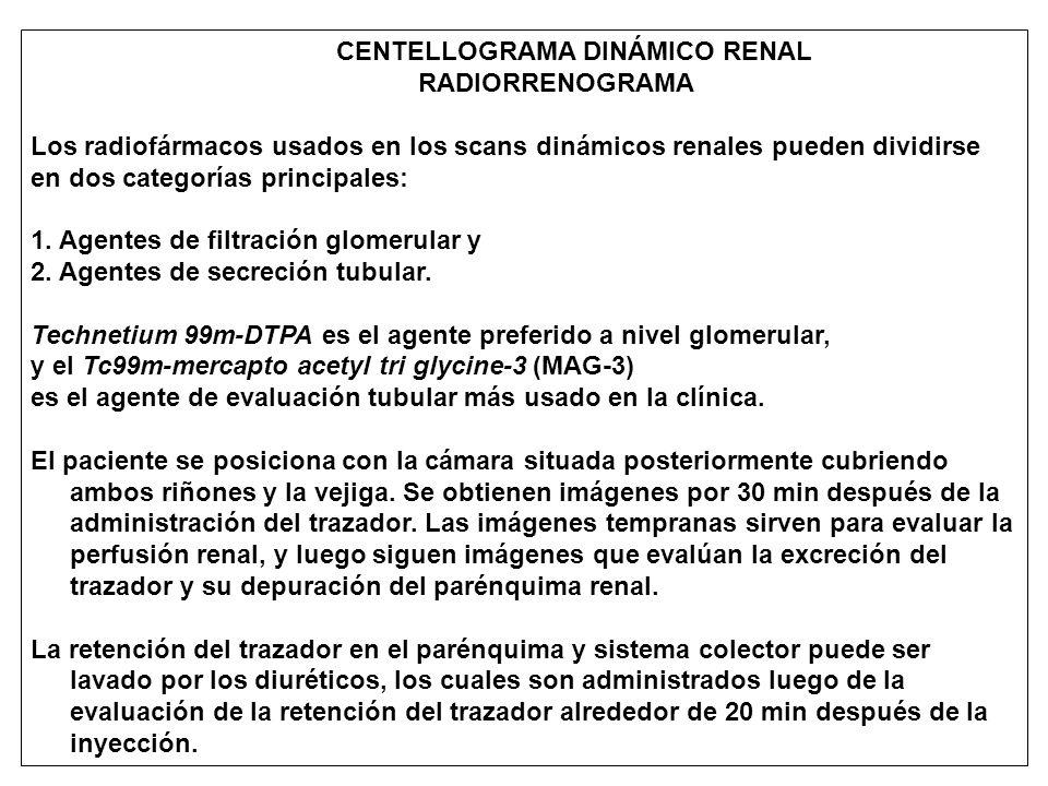 CENTELLOGRAMA DINÁMICO RENAL RADIORRENOGRAMA Los radiofármacos usados en los scans dinámicos renales pueden dividirse en dos categorías principales: 1.