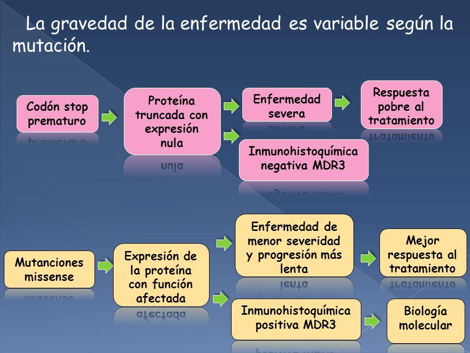 La gravedad de la enfermedad es variable según la mutación.
