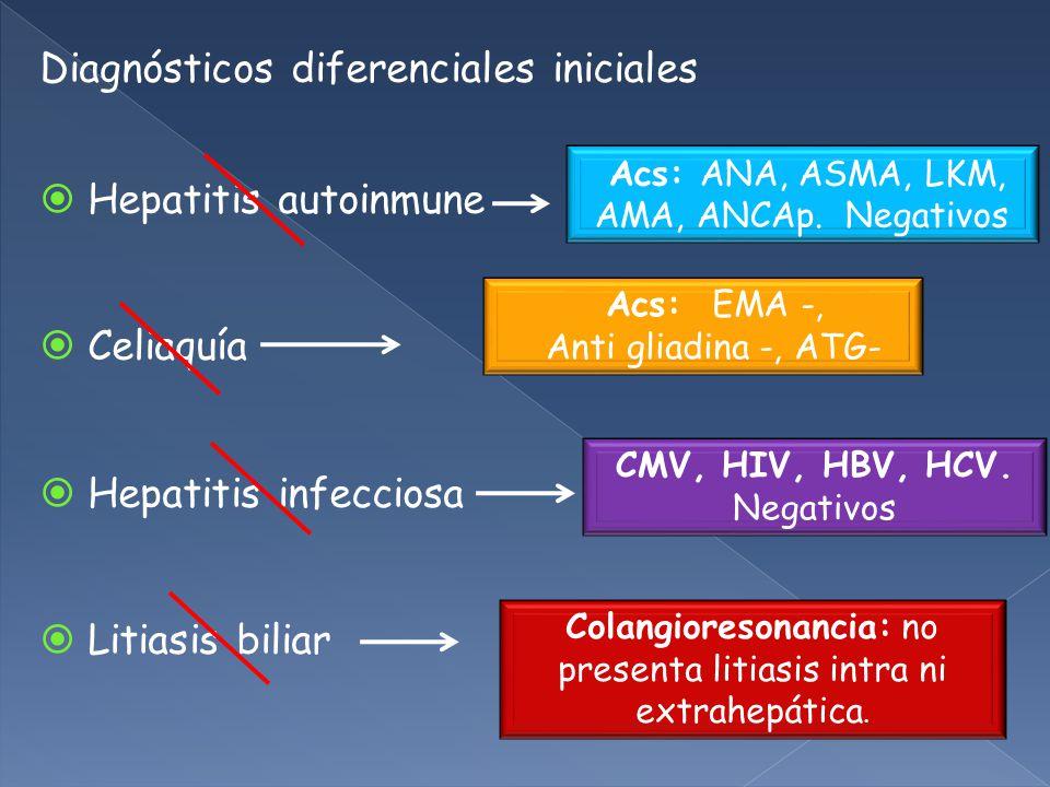 Diagnósticos diferenciales iniciales Hepatitis autoinmune Celiaquía Hepatitis infecciosa Litiasis biliar Acs: ANA, ASMA, LKM, AMA, ANCAp.