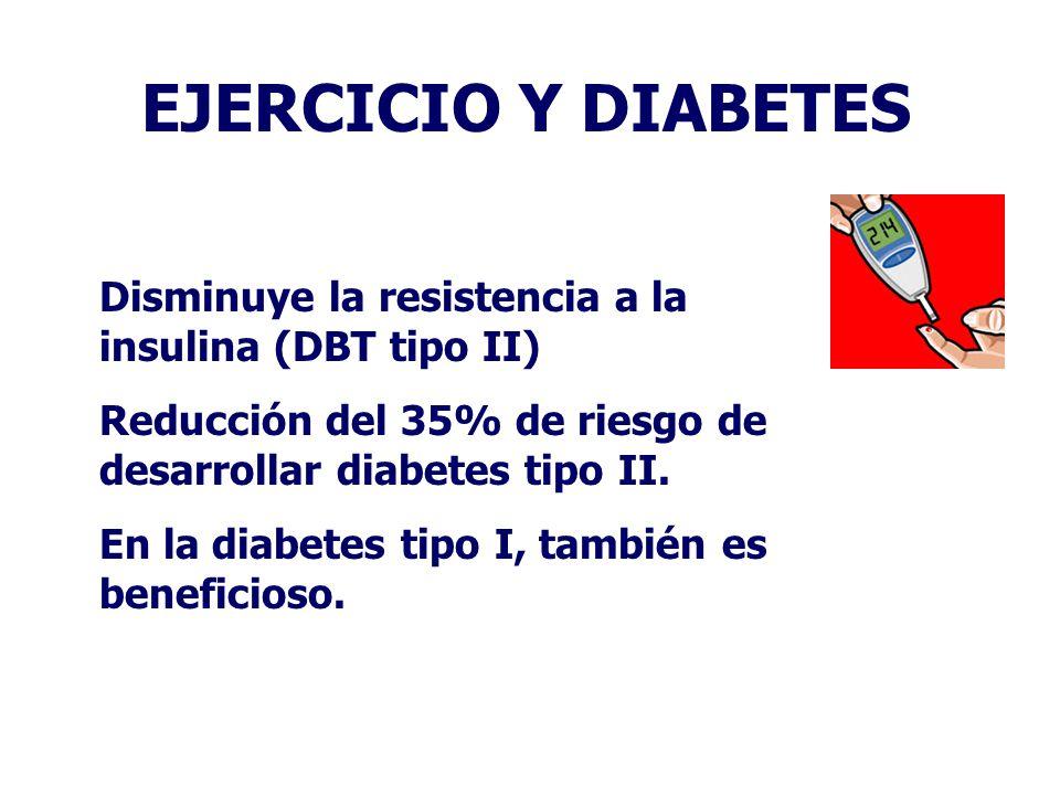 EJERCICIO Y DIABETES Disminuye la resistencia a la insulina (DBT tipo II) Reducción del 35% de riesgo de desarrollar diabetes tipo II. En la diabetes