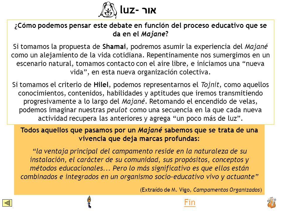 ¿Cómo podemos pensar este debate en función del proceso educativo que se da en el Majane? Si tomamos la propuesta de Shamai, podremos asumir la experi