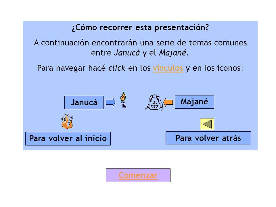 ¿Cómo recorrer esta presentación? A continuación encontrarán una serie de temas comunes entre Janucá y el Majané. Para navegar hacé click en los víncu