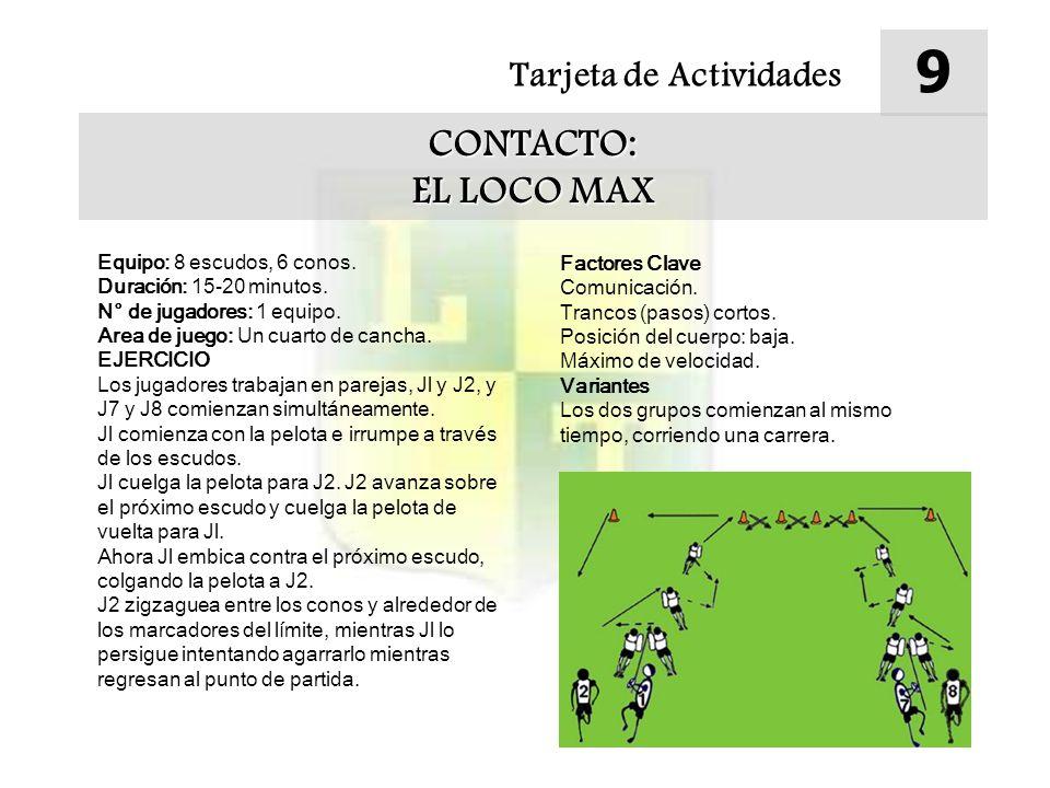 Tarjeta de Actividades 9 CONTACTO: EL LOCO MAX Equipo: 8 escudos, 6 conos.