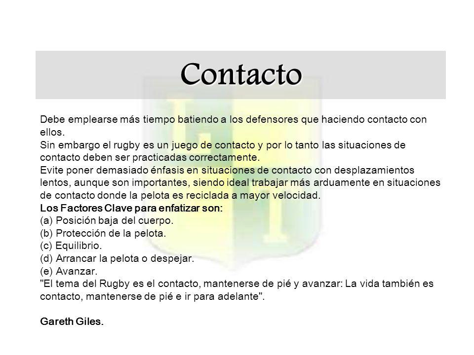 Contacto Debe emplearse más tiempo batiendo a los defensores que haciendo contacto con ellos.