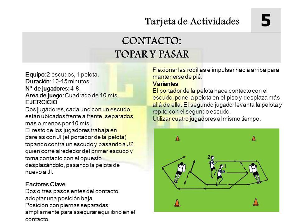 Tarjeta de Actividades 5 CONTACTO: TOPAR Y PASAR Equipo: 2 escudos, 1 pelota.