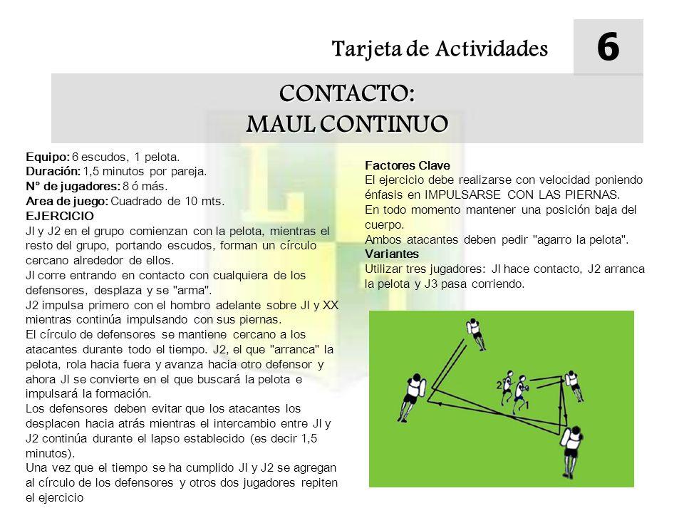 Tarjeta de Actividades 6 CONTACTO: MAUL CONTINUO Equipo: 6 escudos, 1 pelota.
