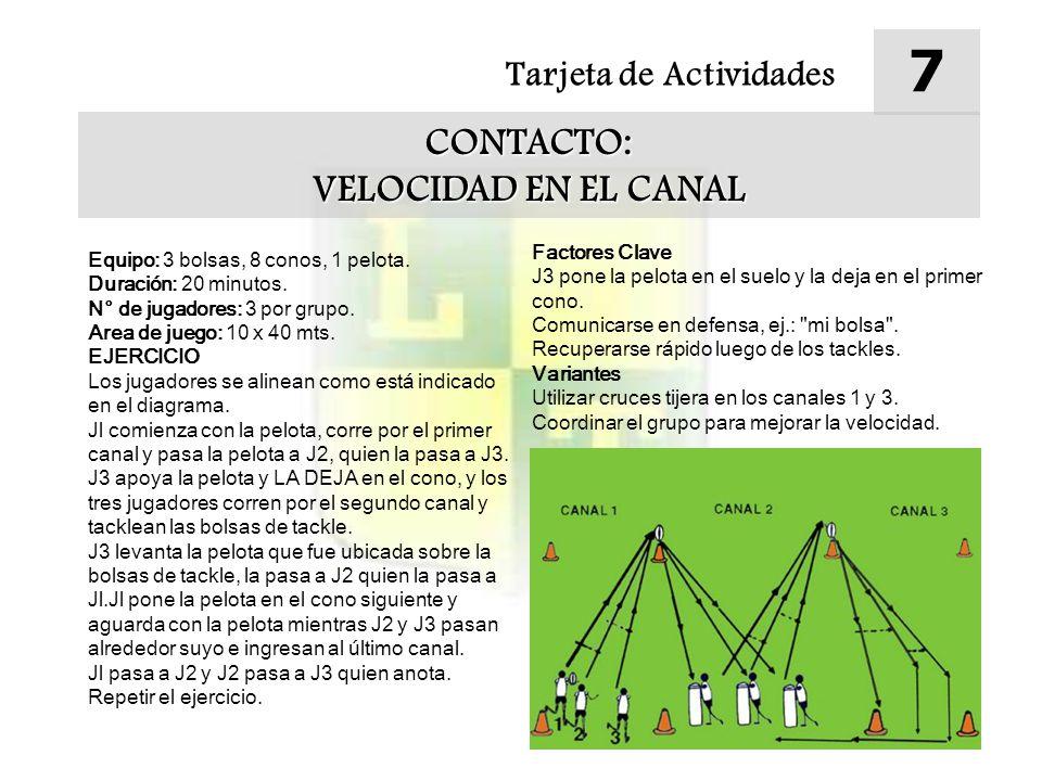 Tarjeta de Actividades 7 CONTACTO: VELOCIDAD EN EL CANAL Equipo: 3 bolsas, 8 conos, 1 pelota.