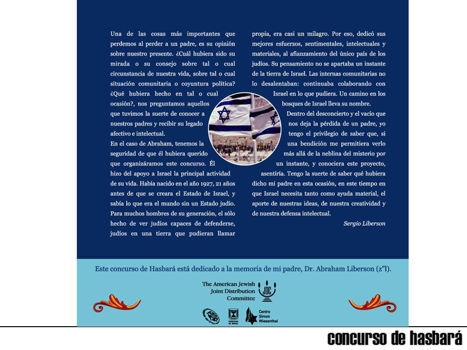 Concurso de Hasbará Hace poco más de cien años, a la salida del primer Congreso Sionista en Basilea, Suiza, Theodor Hertzl afirmó: Si lo queréis, no será un sueño.
