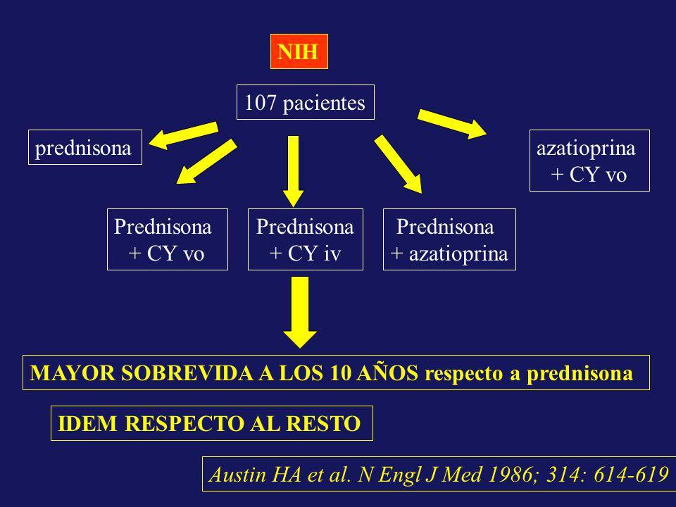 Austin HA et al. N Engl J Med 1986; 314: 614-619 NIH 107 pacientes prednisona Prednisona + CY iv Prednisona + CY vo Prednisona + azatioprina azatiopri