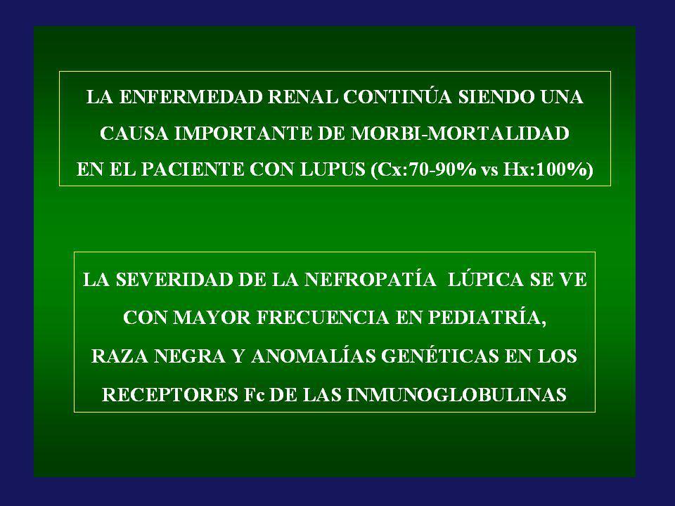 CY iv cada 4 meses Azatioprina 1 a 3 mg/kg/d MMF 0.5 a 3 g/d TASA DE SOBREVIDA LIBRE DE RECAÍDAS, DE HOSPITAIZACIÓN Y COMPLICACIONES A LOS 72 MESES Contreras G et al.