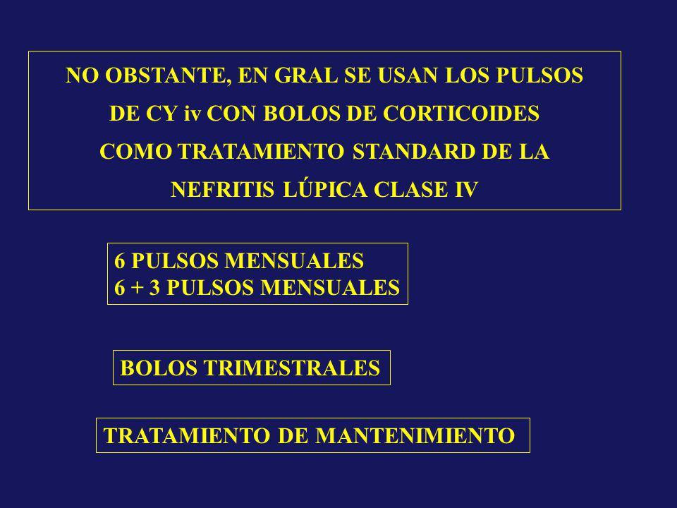 NO OBSTANTE, EN GRAL SE USAN LOS PULSOS DE CY iv CON BOLOS DE CORTICOIDES COMO TRATAMIENTO STANDARD DE LA NEFRITIS LÚPICA CLASE IV 6 PULSOS MENSUALES