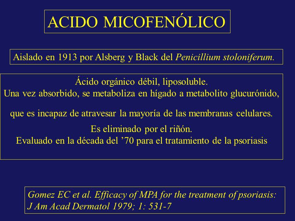 ACIDO MICOFENÓLICO Aislado en 1913 por Alsberg y Black del Penicillium stoloniferum. Ácido orgánico débil, liposoluble. Una vez absorbido, se metaboli