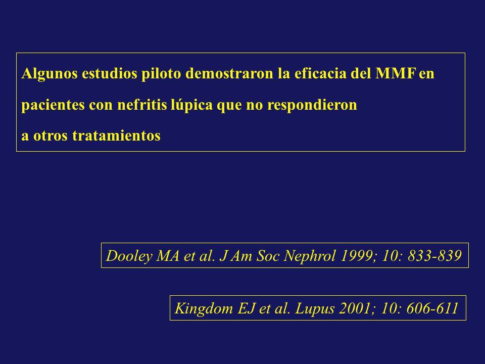 Algunos estudios piloto demostraron la eficacia del MMF en pacientes con nefritis lúpica que no respondieron a otros tratamientos Dooley MA et al. J A