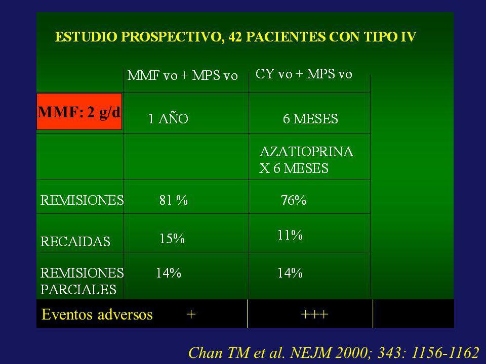 MMF: 2 g/d Eventos adversos + +++ Chan TM et al. NEJM 2000; 343: 1156-1162