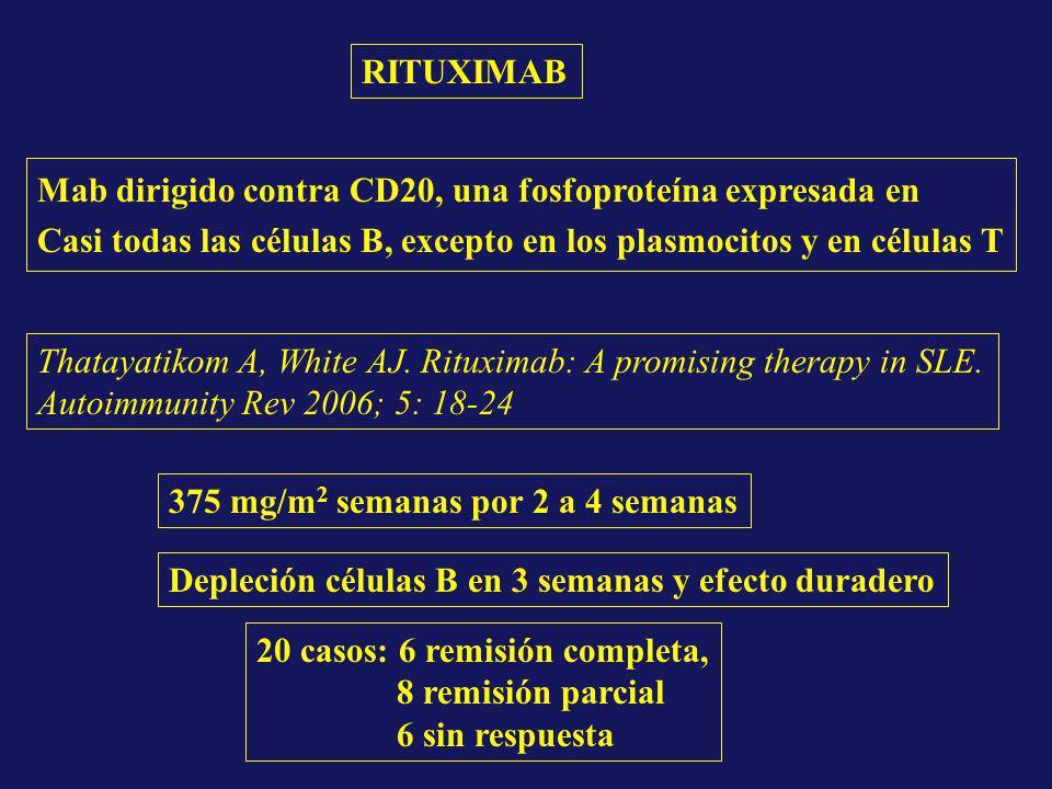 RITUXIMAB Mab dirigido contra CD20, una fosfoproteína expresada en Casi todas las células B, excepto en los plasmocitos y en células T Thatayatikom A,