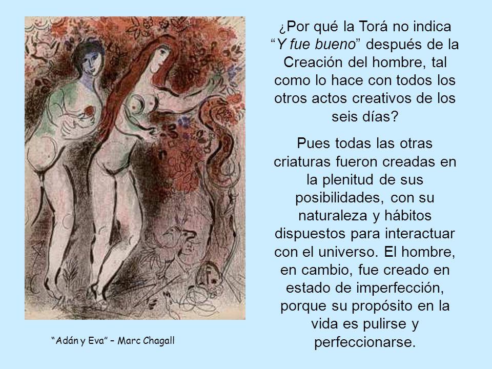 Adán y Eva – Marc Chagall ¿ Por qué la Torá no indicaY fue bueno después de la Creación del hombre, tal como lo hace con todos los otros actos creativos de los seis días.