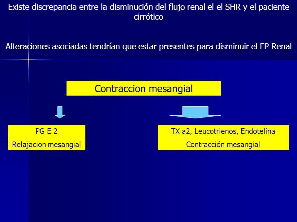 Existe discrepancia entre la disminución del flujo renal el el SHR y el paciente cirrótico Alteraciones asociadas tendrían que estar presentes para di