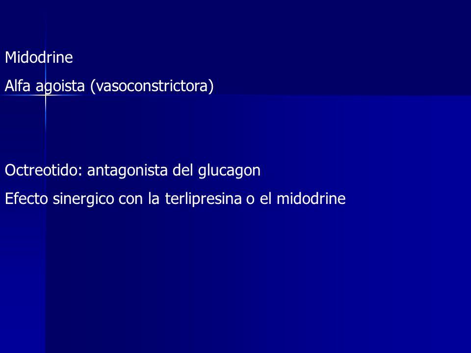 Midodrine Alfa agoista (vasoconstrictora) Octreotido: antagonista del glucagon Efecto sinergico con la terlipresina o el midodrine