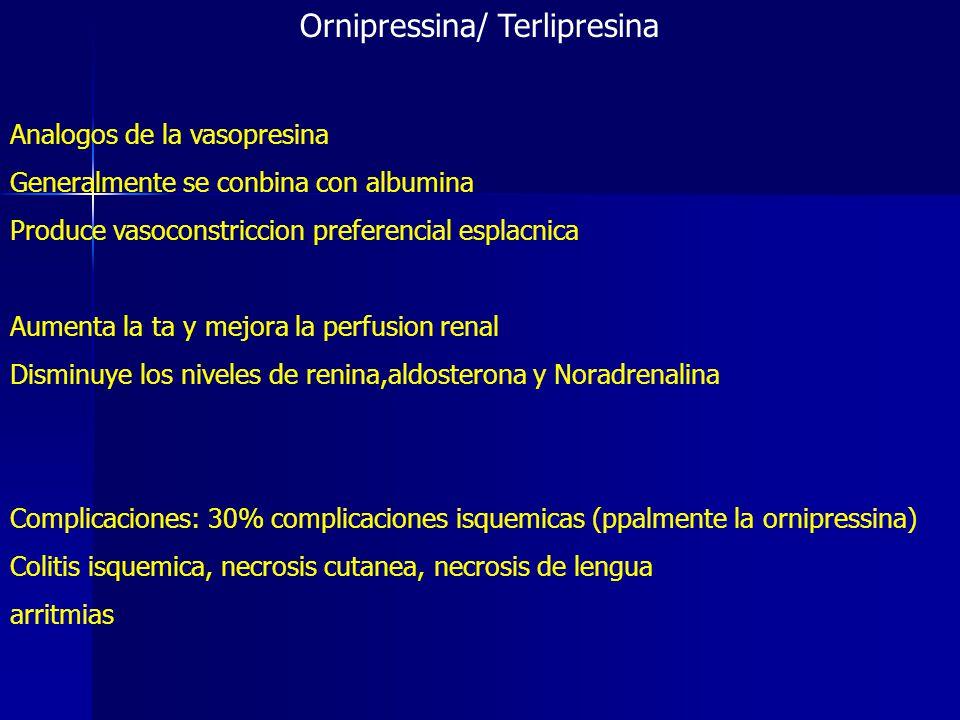 Ornipressina/ Terlipresina Analogos de la vasopresina Generalmente se conbina con albumina Produce vasoconstriccion preferencial esplacnica Aumenta la