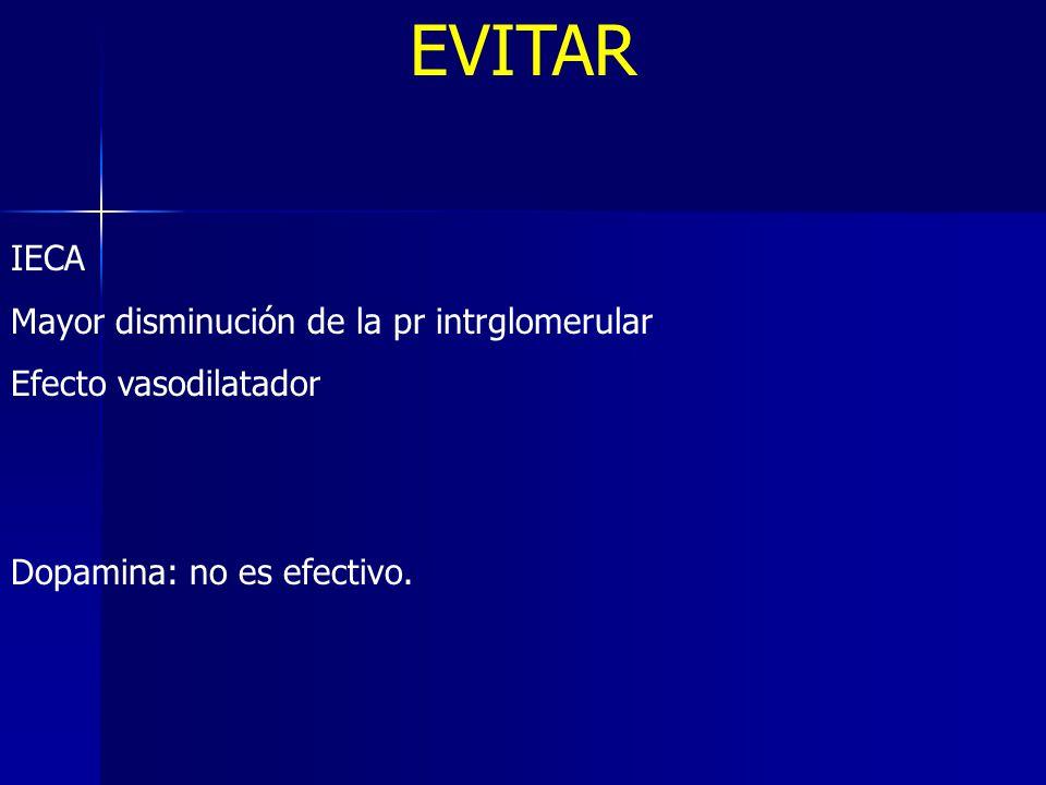 EVITAR IECA Mayor disminución de la pr intrglomerular Efecto vasodilatador Dopamina: no es efectivo.