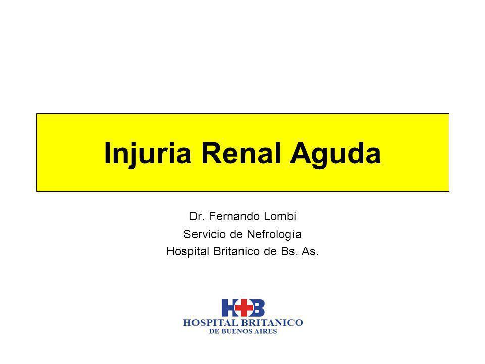 Injuria Renal Aguda Dr. Fernando Lombi Servicio de Nefrología Hospital Britanico de Bs. As.