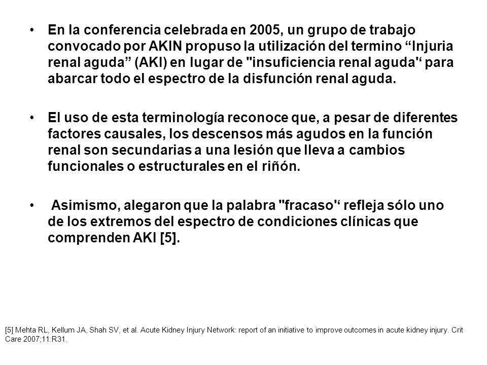 En la conferencia celebrada en 2005, un grupo de trabajo convocado por AKIN propuso la utilización del termino Injuria renal aguda (AKI) en lugar de '