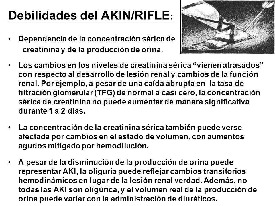 Debilidades del AKIN/RIFLE : Dependencia de la concentración sérica de creatinina y de la producción de orina. Los cambios en los niveles de creatinin