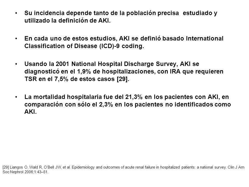Su incidencia depende tanto de la población precisa estudiado y utilizado la definición de AKI. En cada uno de estos estudios, AKI se definió basado I